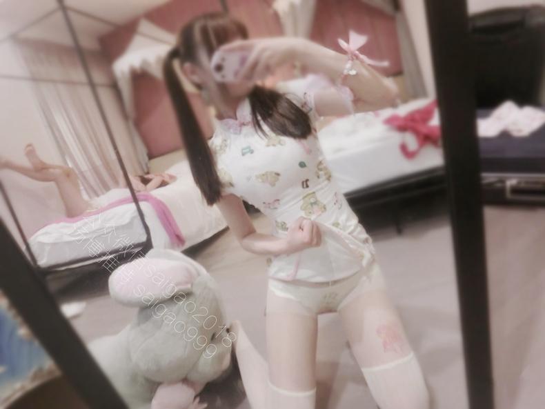 微博萝莉双马尾@H工口赛高酱——小熊旗袍 3