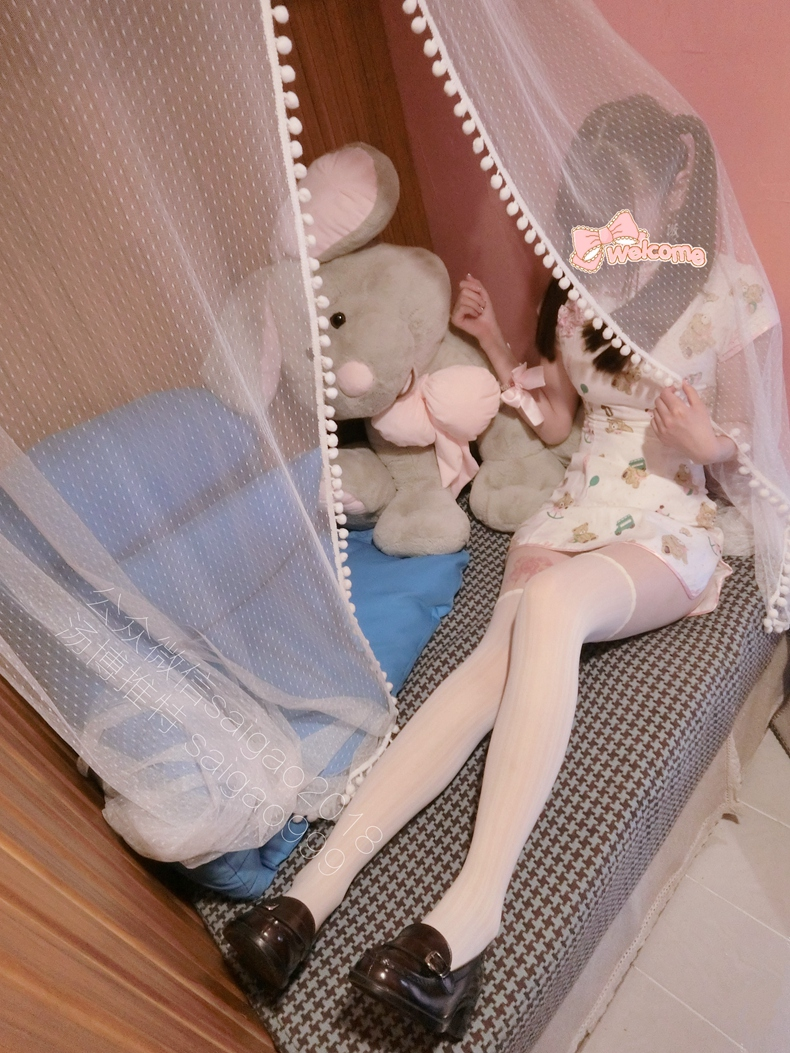 微博萝莉双马尾@H工口赛高酱——小熊旗袍 5